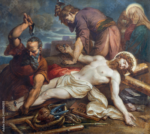 Obraz na plátně VIENNA, AUSTIRA - OCTOBER 22, 2020: The painting Jesus is nailed to the cross in church St