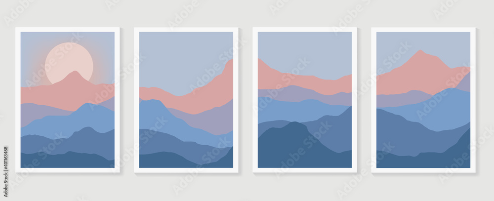 Fototapeta Mountain wall art vector set. Earth tones landscapes backgrounds set with moon and sun.  Abstract Arts design for wall framed prints, canvas prints, poster, home decor, cover, wallpaper.