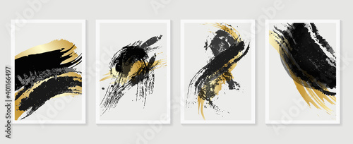 Gold and dark ink wall arts vector collection. Golden and luxury wallpaper design for prints and Canvas Prints.