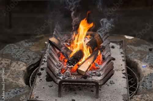 Fotografie, Obraz Small open wood fire burning in a metal grate