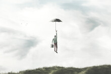 Illustration Of Man Flying In The Sky With Umbrella, Surreal Freedom Concept