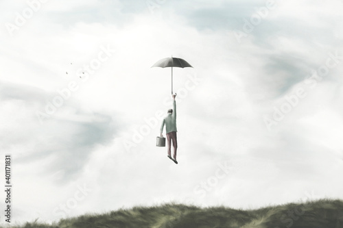 Obraz na płótnie illustration of man flying in the sky with umbrella, surreal freedom concept