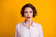 You Cant Be Serious. Astonished Frustrated Girl Hear Failure Mistake Novelty Feel Questioned Open Mouth Wear Good Look Clothes Isolated Over Vivid Color Background