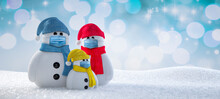 Little Snowmen Family With Face Protection Masks - 3D Illustration
