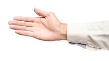 Business Male Caucasian Hand Reach And Ready To Shake Or Assistance. Gesture Isolated On White Background.