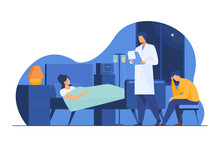 Woman Suffering From Hard Disease. Patient On Life Support, Doctor, Hospital Flat Vector Illustration. Illness, Intensive Care, Medical Help Concept For Banner, Website Design Or Landing Web Page