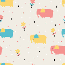Seamless Pattern With Cute Cartoon Elephant And Flower For Fabric Print, Textile, Gift Wrapping Paper. Colorful Vector For Kids, Flat Style