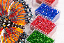 Colorful Glass Beads. Variety Of Shapes And Colors To Make A Bead Necklace Or A String Of Beads For Women
