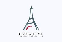 Eiffel Tower Logo Design Vector Illustration. Eiffel Business Logos, Template Design Element