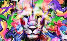 Lion Illustration With Colorful Splashes