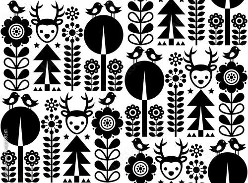Obraz na plátně Finnish inspired seamless vector folk art monochrome pattern - Scandinavian, Nor