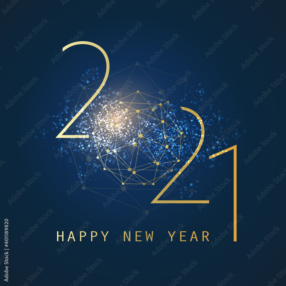 Fototapeta Golden and Dark Blue Happy New Year Greeting Card, Creative Design Template - 2021