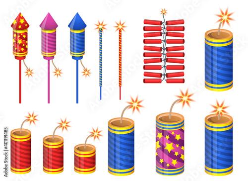 Fotografie, Obraz Firecrackers vector design illustration isolated on white background