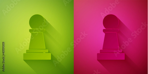 Paper cut Chess icon isolated on green and pink background Wallpaper Mural
