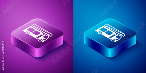 Obraz na plátne Isometric Fire truck icon isolated on blue and purple background