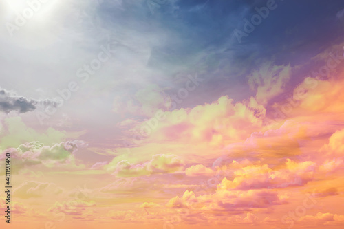 Fototapeta clouds watercolor tint, pink clouds gradient background sky, atmosphere air freedom obraz