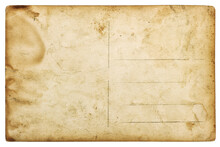 Old Postcard Mail Used Stained Paper Texture Edges Isolated