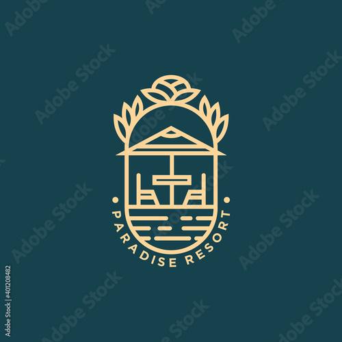 Fotografía paradise resort minimalist line art logo template vector illustration design
