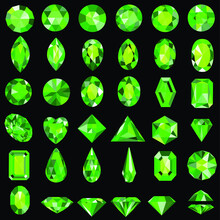 Illustration Set Of Green Gems Of Various Cuts And Shapes.