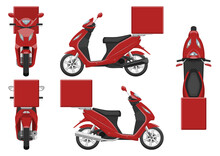 Red Delivery Motorcycle Vector Template With Simple Colors Without Gradients And Effects. View From Side, Front, Back, And Top