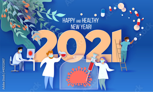 Obraz na plátně 2021 New Year design card with Doctor team fighting with coronavirus pandemic