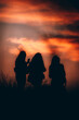 silhouette of a group of friends on sunset
