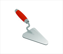Isometric Cement Trowel Isolated On White Background. Colorful Bricklayer Trowel Vector Icon For Web Design. Spatula With A Orange Handle. Construction Tool. Vector Illustration. 3D. Flat Style.
