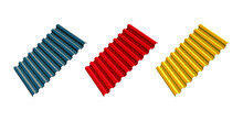 Red, Yellow And Gray Corrugated Roofing Sheets Isolated On White Background. Galvanized Iron Sheets Vector Icon. Colored Wavy Slate. Metal Roof, Metal Siding, Profiled Sheeting For Covering Or Fencing