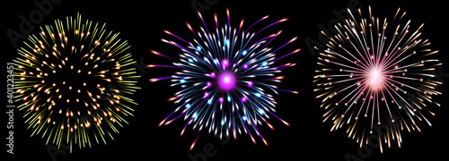 Fotografie, Obraz Set of isolated fireworks illustration