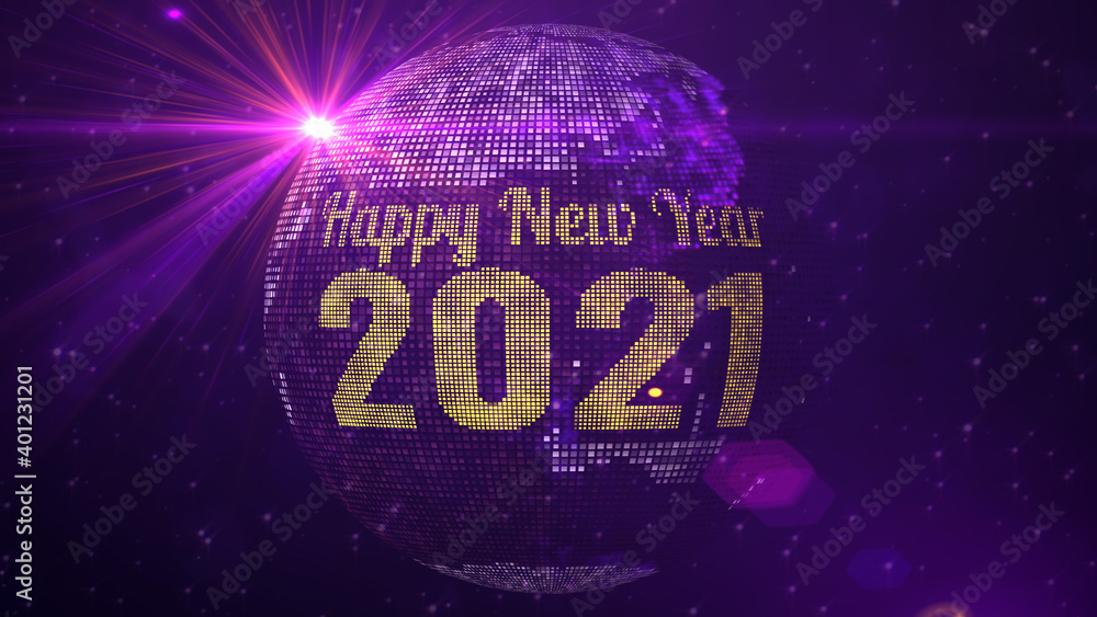 Fototapeta Red Purple Shine Happy New Year 2021 Lettering Greeting On Square Shines Dotted Globe Earth World Map With Sparkles Stars And Lighting Flare Background