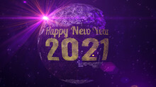 Red Purple Shine Happy New Year 2021 Lettering Greeting On Square Shines Dotted Globe Earth World Map With Sparkles Stars And Lighting Flare Background