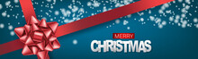 Christmas Banner Or Website Header. Merry Xmas And Happy New Year Design For Invitation Or Sale Advertisement With Snow On Blue Background With Red Ribbon And Bow. Vector Illustration.