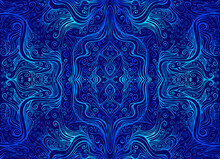 Vintage Psychedelic Trippy Colorful Fractal Pattern. Gradient Blue Cyan Outline, Isolated On Dark Blue Colors.