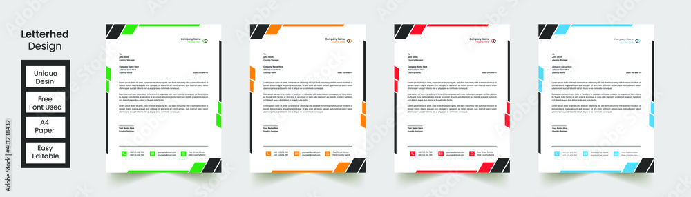 Fototapeta Modern Abstract Creative corporate Professional Letterhead, template with 4 color combination