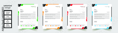 Fototapeta Modern Abstract Creative corporate Professional Letterhead, template with 4 color combination obraz