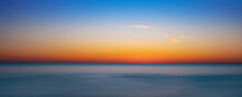 Blue And Orange Sky After Sunset Over The Gulf Of Mexico From Venice Florida USA