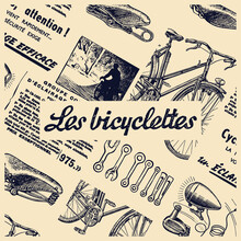 Les Bicyclettes Means In French The Bicyle. Vintage Newspaper Collage With Clipping Mask On Elements.