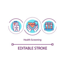 Health Screening Concept Icon. Medical Clinic Services. Disease Finding Procedure. Body Health Care Idea Thin Line Illustration. Vector Isolated Outline RGB Color Drawing. Editable Stroke