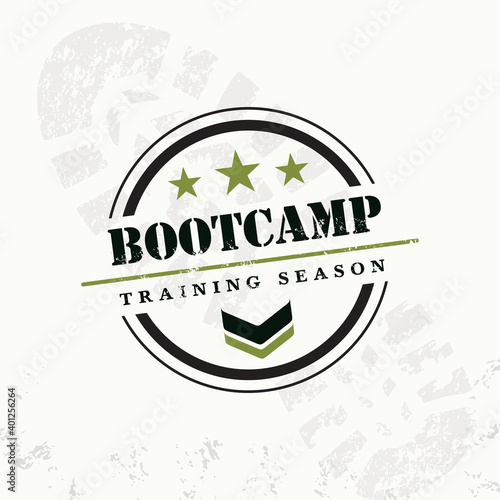 Fototapeta Bootcamp Fitness Body Workout Training Extreme Sport Outdoor Rough Vector Concept. Boot camp grunge rubber stamp on grunge background, vector illustration obraz