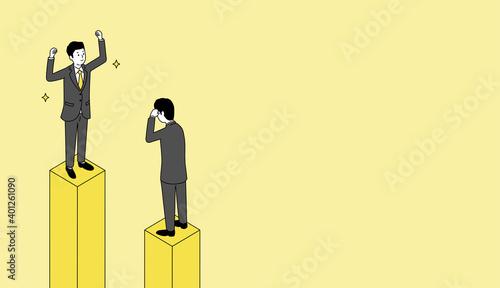 Billede på lærred グラフの上で喜ぶビジネスマンと頭を抱えるビジネスマン、黄色とグレーのイラスト、ベクター