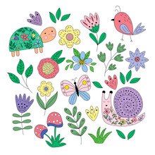 Set Of Spring Elements - Flowers, Leaves, Bird, Butterfly, Turtle, Snail In Vector Graphics On A White Background. For The Design Of Postcards, Posters, Packaging, Prints On Textiles, Notebook Covers