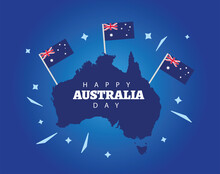 Happy Australia Day Lettering With Flags In Map