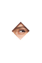 Unrecognizable Female With Brown Eyes Looking Through Square Shaped Hole In White Wall