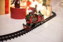 Vintage Red And Green Steam Train On The Children's Railway, Christmas Decor