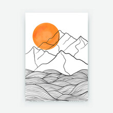 Abstract Mountain Landscape Poster Design. Contemporary Line Drawing Sun Mount Shapes, Doodle Geometric Art. Vector Illustration