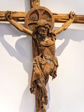 Medieval Wooden Figure Of Jesus Christ On Cross
