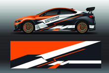 Decal Car Wrap Design Vector. Graphic Abstract Stripe Racing Background For Vehicle, Race Car, Rally, Drift