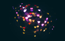 Valentine's Day Heart Shape Colorful Bokeh