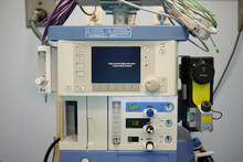 Modern Anesthesia Respiratory Machine With Switched Monitor Placed In Surgical Department In Hospital