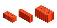Cartoon Vector Flat Illustration Set Of Building Blocks. Realistic Vector Colorful Brick Icons Isolated On White. 3D Isometric Vector Brick Icons For Logo, Infographics And Design Games. Construction.